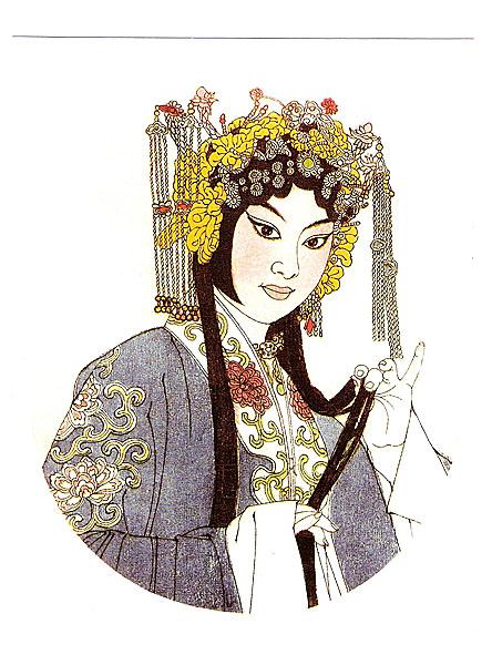 京剧人物――蓝衣女